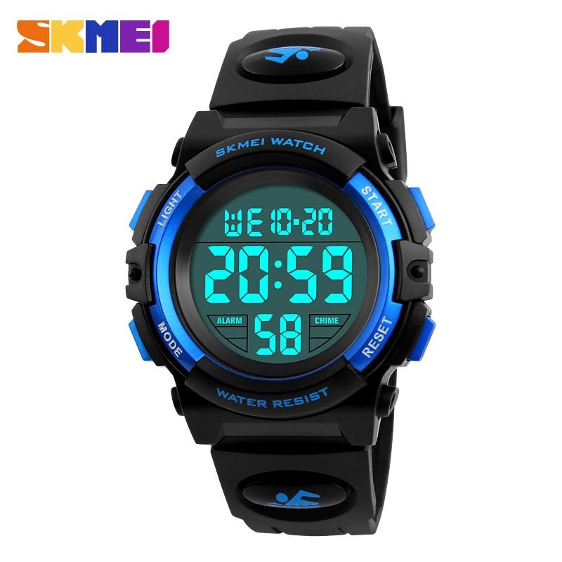 2d83be0e04a5 Azul del reloj SKMEI marca niños Relojes LED Digital multifuncional  impermeable relojes deportes al aire libre relojes para niños niño niñas