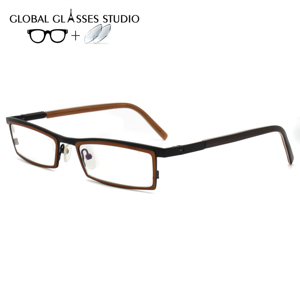 Men Or Women Metal  Glasses Frame Eyewear Eyeglasses Reading Myopia Prescription Lens 1.56 Index A711(China)