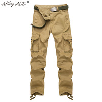 2018 AKing ACE Yeni Kargo Pantolon Erkekler Baggy Rahat Pamuk pantolon Haki Mens Askeri Taktik Savaş Pantolon 29-40 Büyük Boy ZA328