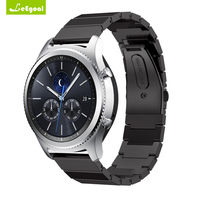 Leegoal For Samsung Gear S3 Classic Frontier Band Metal Clasp Link Bracelet Stainless Steel Watchband Black