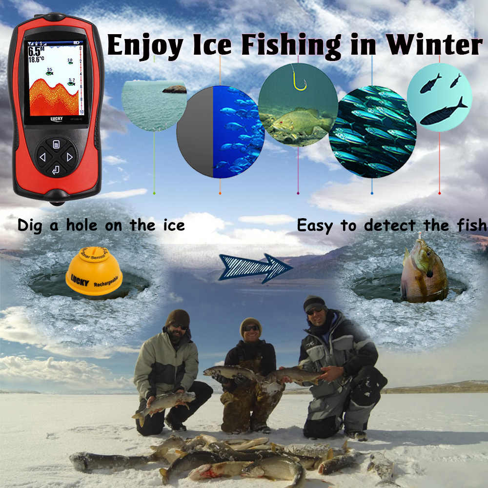 Lucky Echolood Sonar Draadloze Diepte Finder Lcd Fish Finder Voor Boot Ijsvissen Accessoires FF1108-1CWLA