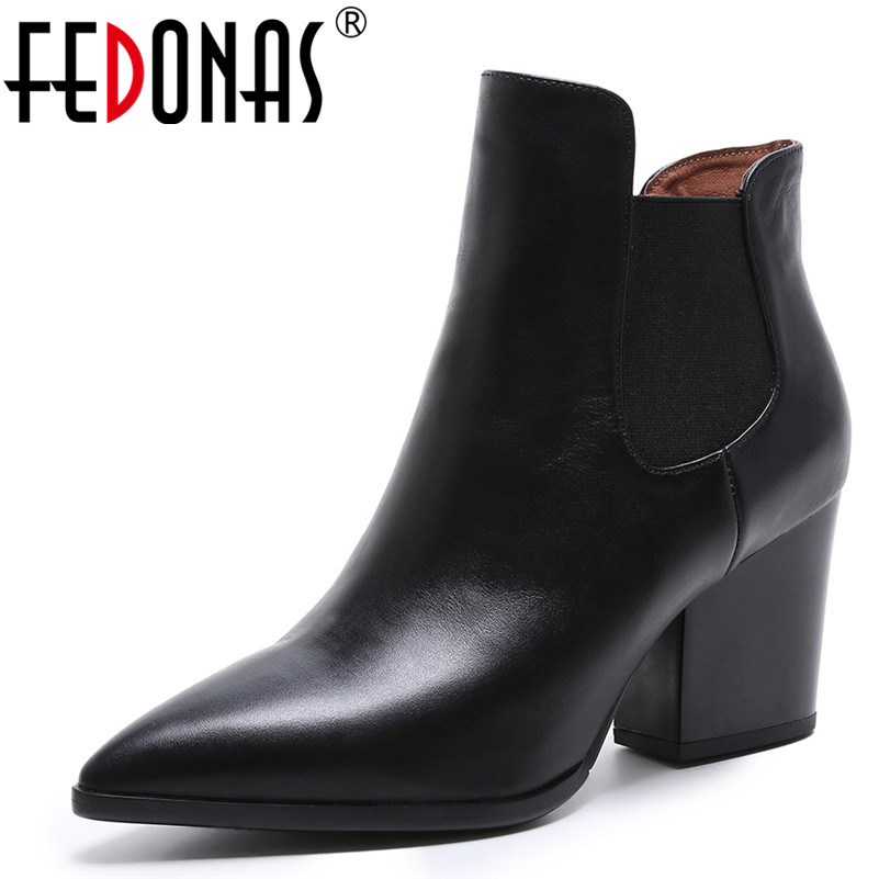 FEDONAS Brand Women Pointed Toe Ankle Boots Square Heeled Autumn Winter Martin Shoes Woman Genuine Leather Black Office Pumps aiweiyi square high heeled shoes woman round toe buckle design autumn winter women ankle boots botas shoes women pumps shoes