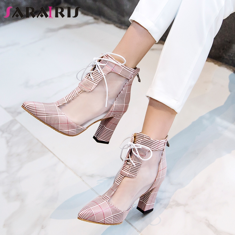 SARAIRIS 2019 New Fashion Hot Sale Plus Size 32-47 Zipper Spring Pumps Woman Shoes Pointed Toe Chunky Heels Office Pumps FemaleSARAIRIS 2019 New Fashion Hot Sale Plus Size 32-47 Zipper Spring Pumps Woman Shoes Pointed Toe Chunky Heels Office Pumps Female
