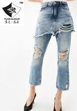 HDP034 женская мода Стиральная старый отверстие джинсы ложные две брюки девять нерегулярные длина лодыжки брюки отверстие джинсы/4 размер