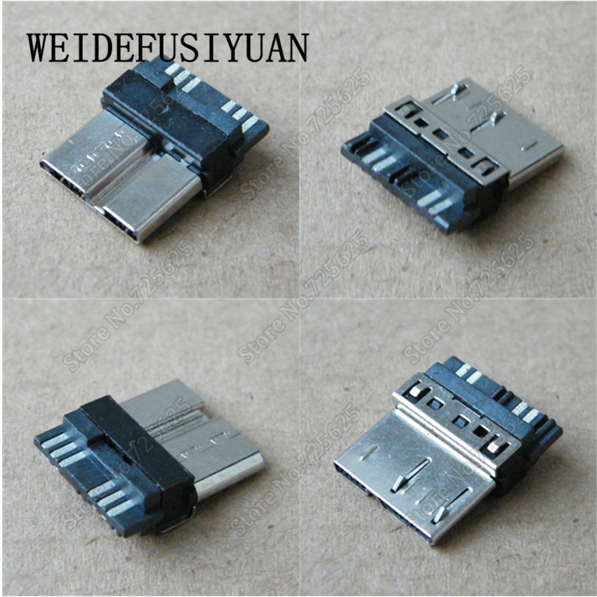 <font><b>50</b></font>-100PCS Dual Micro <font><b>USB</b></font> 3.0 <font><b>Jack</b></font> Port Socket for Mobile hard disk <font><b>5pins</b></font> Male Plug image