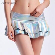 2019 מבריק מתכתי צבע סקסי מיני חצאיות נשים הולוגרפית חמה מיקרו חצאיות קיץ החוף סקסי המפלגה Clubwear בנות
