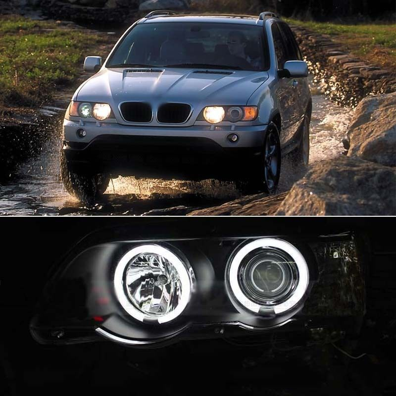 Ownsun Brand New Dual CCFL Angel-Eyes Projector HeadLight for BMW X5 E53 2000-2003 Model free shipping ccfl angel eyes for bmw e90 e90 non projector halo ring e90 ccfl angeleyes lights
