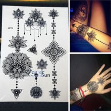25 Style New Arrival Flash Women Tattoo Stickers Large Flower Pendant Jewelry Waterproof Arm Back Fake Henna Tattoo Black Ink