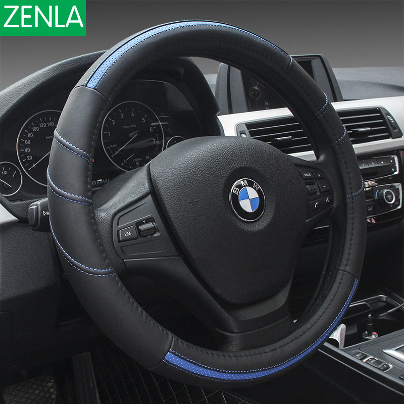 ZENLA 2017 New Genuine Leather leather car steering wheel cover Auto Accessories Car Styling size 38cm free shipping car styling sew on genuine leather car steering wheel cover car accessories for 2015 2016 new ford mustang