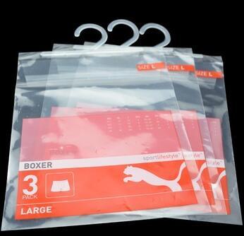 Custom Made Printing Laminated Plastic Underwear Packaging Bag With Hanger Hook