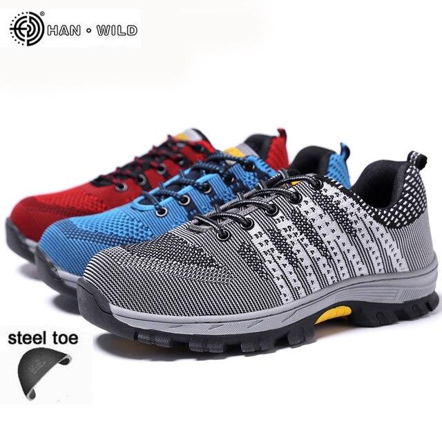 Arbeitssicherheit Schuhe Für Männer Atmungsaktivem Mesh Arbeit Casual stiefel Turnschuhe Plus Größe Mens Stahl Zehenkappe Schuh