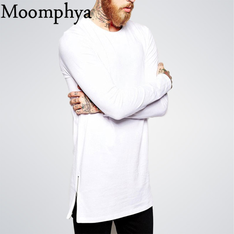 Moomphya 2017 New Men Hip hop   T     Shirts   Long Sleeve   T  -  shirt   With Side Zippers   T     shirt   Men Oversized Street-Wear Longline Top Tees