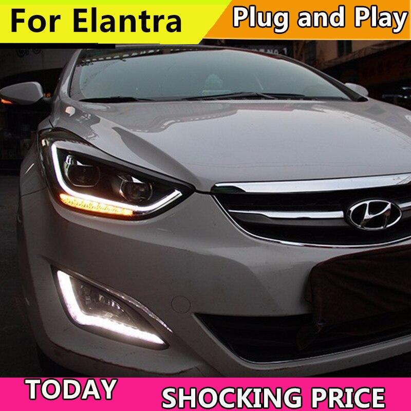 doxa Car Styling for Hyundai Elantra Headlights 2012 2016 LED Headlight DRL Bi Xenon Lens High