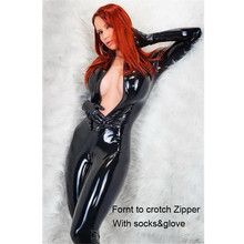 Женское Сексуальное белье из ПВХ и латекса, боди с перчатками, открытая промежность, Клубная одежда, фетиш, женщина-кошка, искусственная кожа, комбинезон, костюмы
