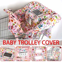 Multifunctional Children Folding Printed Shopping Cart Cover Trolley Soft Pad Infant Cover Safety Seats For Kids with Phone Bag(China)