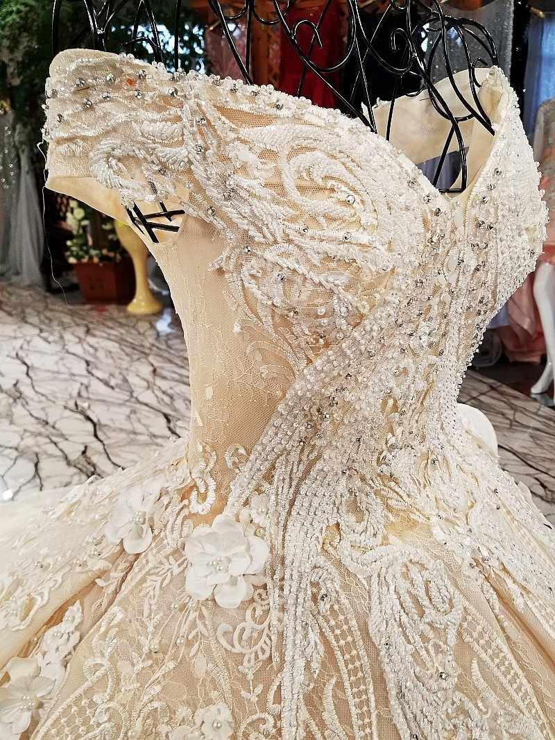 ffdd7ddf1004 ... LS321003 2018 champagne off shoulder bridal gowns off custom size two  layers skirt big wedding dress