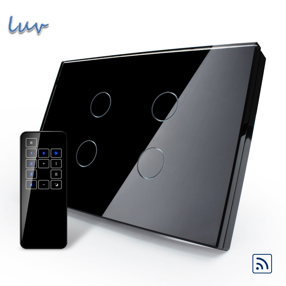 US/AU, Smart Switch, Black Pearl Crystal Glass Panel, Remote Touch Screen Light Switch With Touch Remote,VL-C304R-82&VL-RMT-03 us standard touch remote control light switch 3gang1way black pearl crystal glass wall switch with led indicator mg us01rc