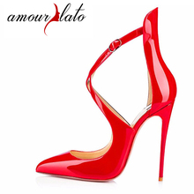 Amourplato Women s 120mm Pointed Toe Ankle Strap High Heels Pumps Cross  Strap Party Prom Wedding Dress 5f40f5747d4c