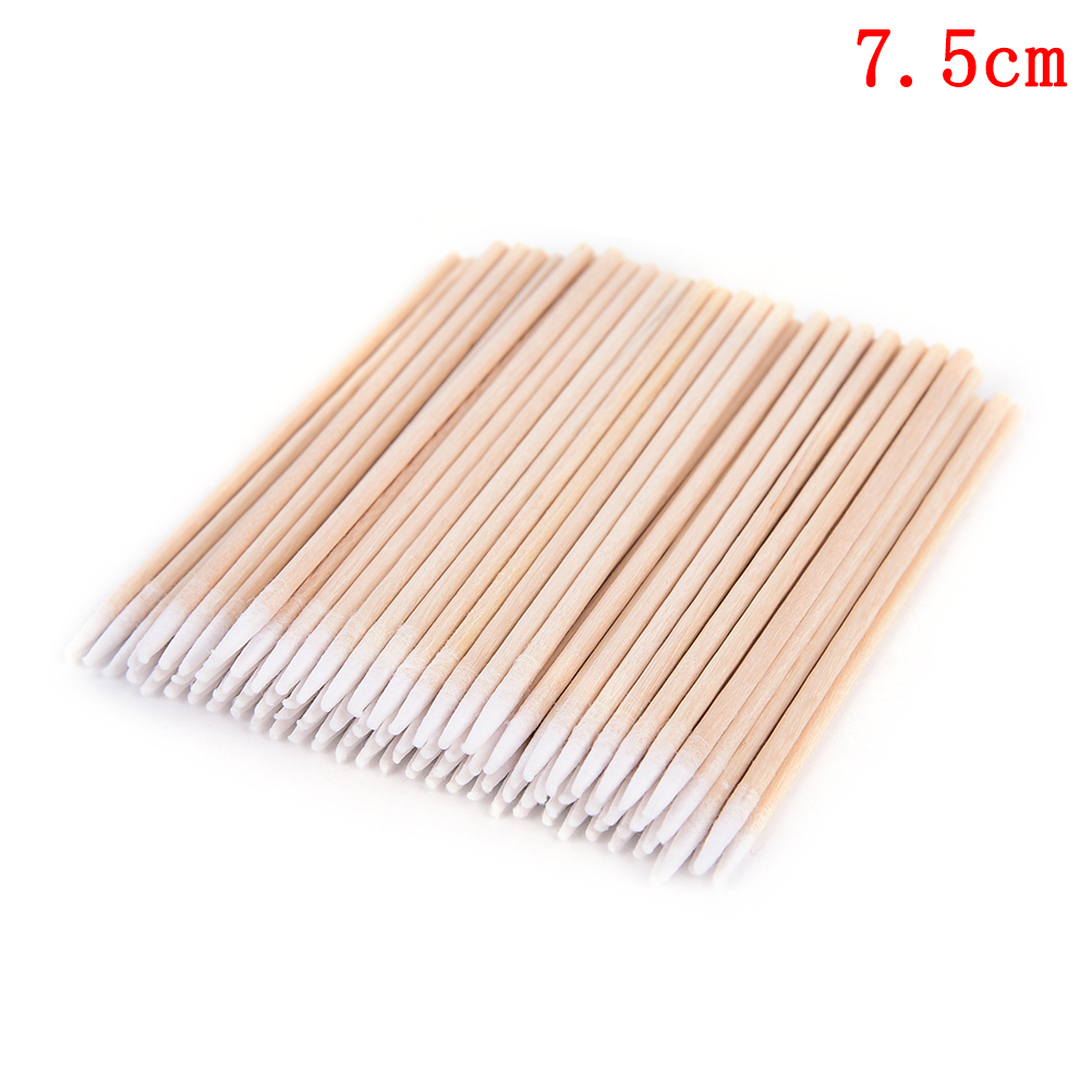 100 Pcs 7.5cm/10cm Wood Cotton Head Swab Cotton Swab Health Makeup Cosmetics Ear Clean Cotton Swab Stick Buds Tip For Medical