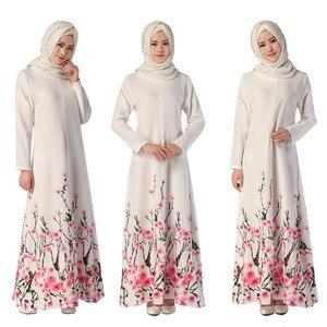 Модное макси-платье с цветочным принтом, хиджаб, абайя, дубай, bangladesh, турецкое мусульманское платье с длинными рукавами, женская одежда с выш...