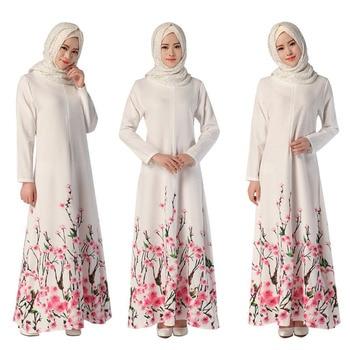 Mode Maxi fleur hijab robe abaya dubaï bangladesh turc manches longues robes  musulmanes broderie islamique vêtements de femmes