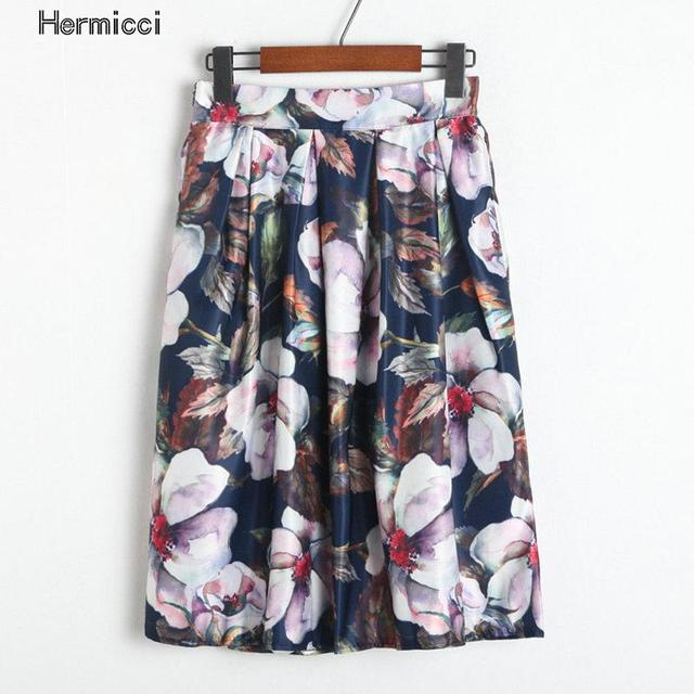 Hermicci Summer Style Floral Print Vintage Pleated Skater Midi Skirt 2017  Fashion High Waist Ball Gown Women Skirt Elegant Saia 31de7800edf6