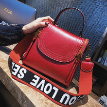 ETAILL Mini Handbag Vintage Retro Zipper Bag Women Top Handle Messenger Bag Pu Leather Tote Small Letter Wide Strap Shoulder Bag