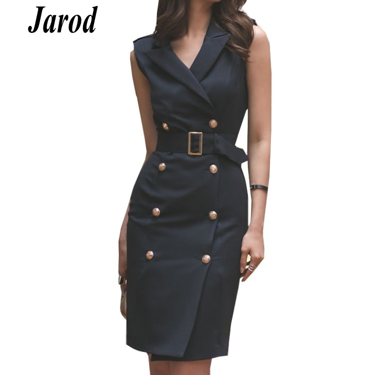 Office Lady Women Dress 2018 Spring summer Double Breasted sleeveless Formal Bodycon Notched Collar Work sheath
