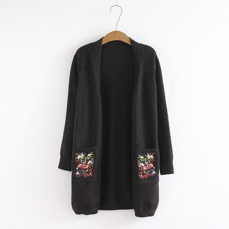 Aliexpress.com : Buy 2017 Autumn Winter Floral Embroidery Black ...