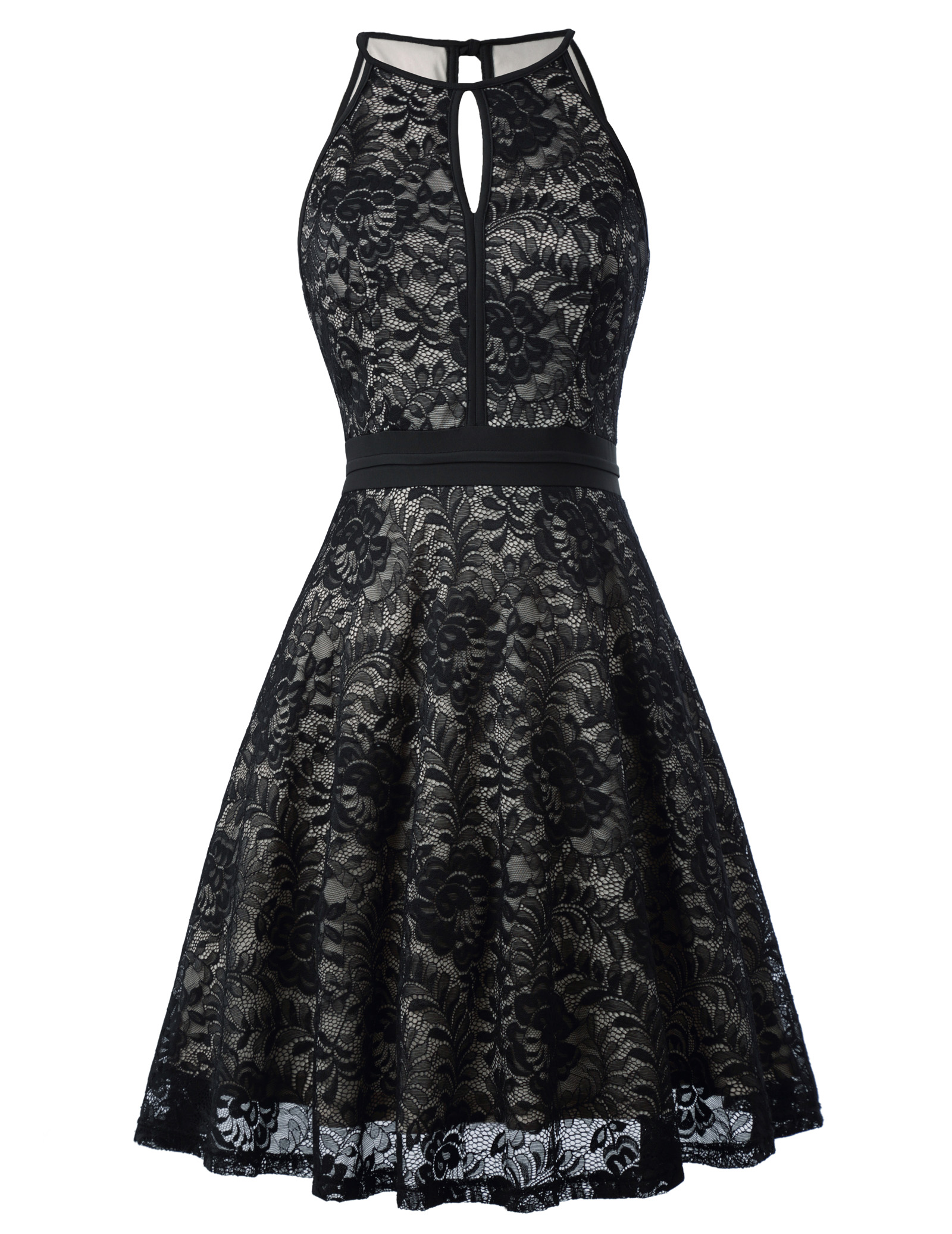 Vintage Black Lace Sleeveless Knee-Length Dress 3