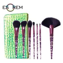 ESOREM Transparent 7pcs Makeup Brushes Set With Green Bag Tapered Highlight Dense Fan Loose Powder Pinceaux Maquillage 888-1