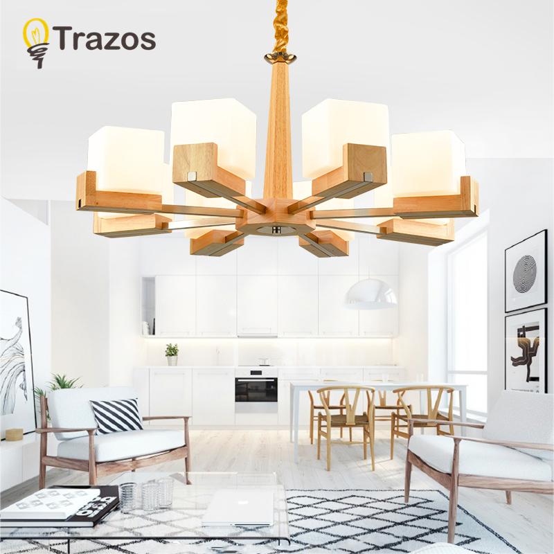 TRAZOS Missio Chandelier E27 With Grass Lampshade For Living Room Suspendsion Lighting Fixtures Lamparas Canada Wooden lamp
