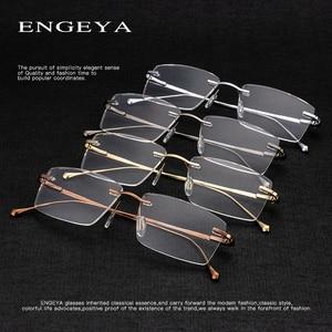 Image 5 - المعادن النظارات الرجال البصرية شفافة مربع موضة العلامة التجارية مصمم إطارات نظارات وصفة طبية مرونة المفصلي # IP378