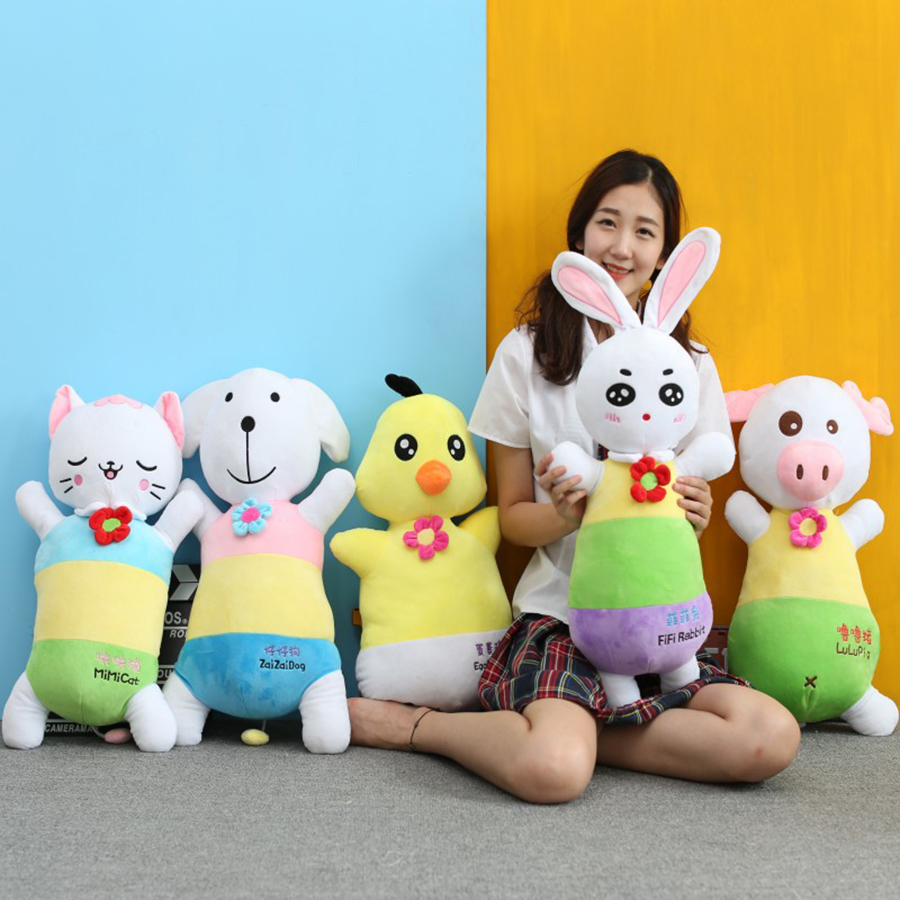 60cm Kawaii Stuffed Dog Pig Chicken Rabbit Cat Plush Toys Stuffed Animals Soft Ty Kids Dolls For Chidren Peluche Toys 50T0366