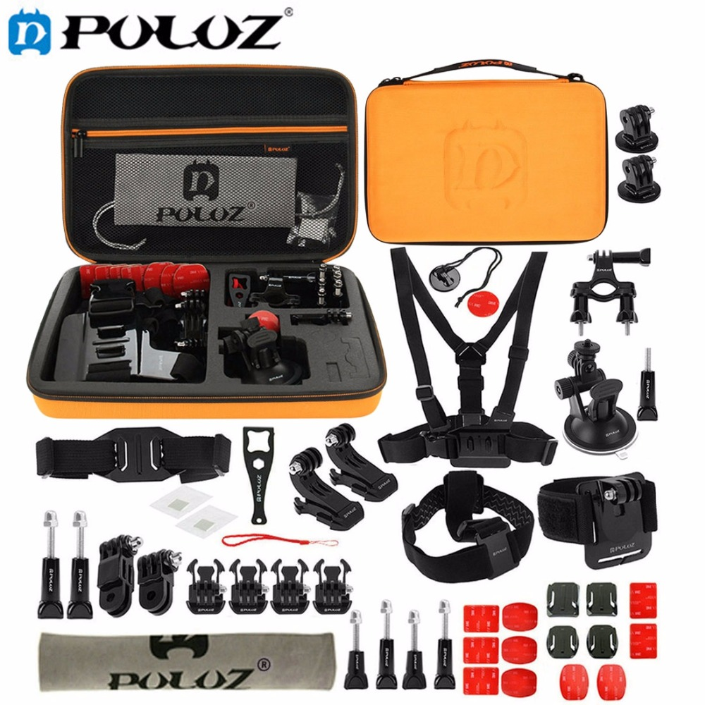 все цены на For Go Pro Accessories 45 in 1 Ultimate Combo Kit with Orange EVA Case stocker for GoPro HERO5 HERO4 Session HERO 5 4 3+ 3 2 1