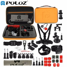 For Go Pro Accessories 45 in 1 Ultimate Combo Kit with Orange EVA Case stocker for GoPro HERO5 HERO4 Session HERO 5 4 3+ 3 2 1