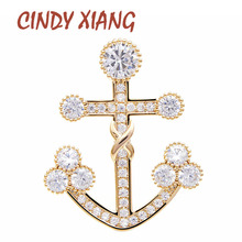 CINDY XIANG Cubic Zirconia Anchor Brooches Unisex Women And Men Copper Pin Shining Gold Color Brooch Suit Accessories