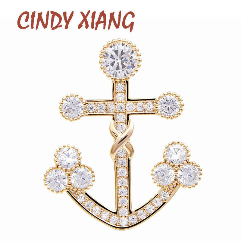 Cindy Xiang Cubic Zirconia Jangkar Bros Unisex Wanita dan Pria Tembaga Pin Bersinar Warna Emas Bros Setelan Bros Pin Aksesoris