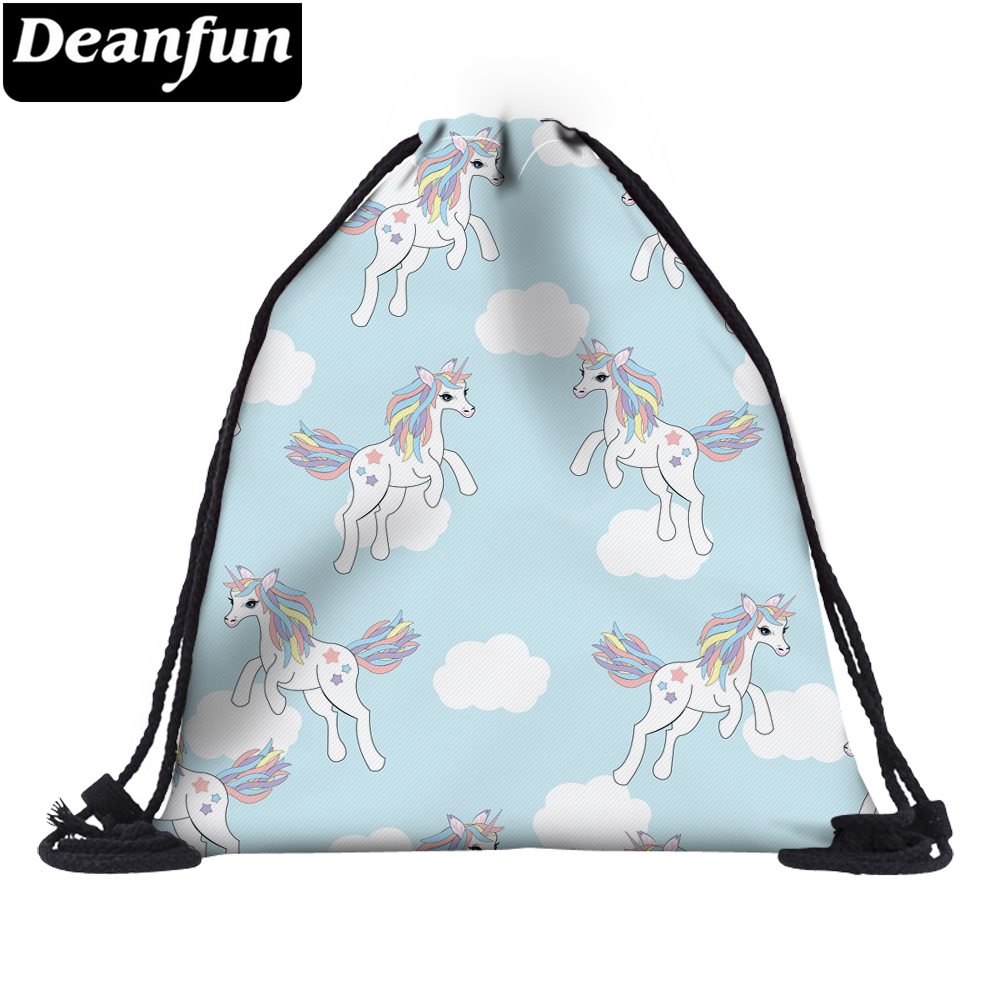 Deanfun 3D Printing Drawstring Bag Unicorn Blue Polyester For Women Travelling  60110