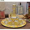 New Silver Plated Metal Coffee Tea Sets Drinkware Yellow Plastic Wine Set For Wedding Zinc Alloy