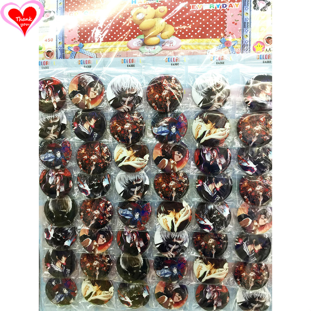 Love Thank You Tokyo Ghoul 45MM 16/24/32/40/48 pcs lot PIN BACK BADGE BUTTON BROOCH for BAG GIFT TOY CLOTH Cartoon& anime