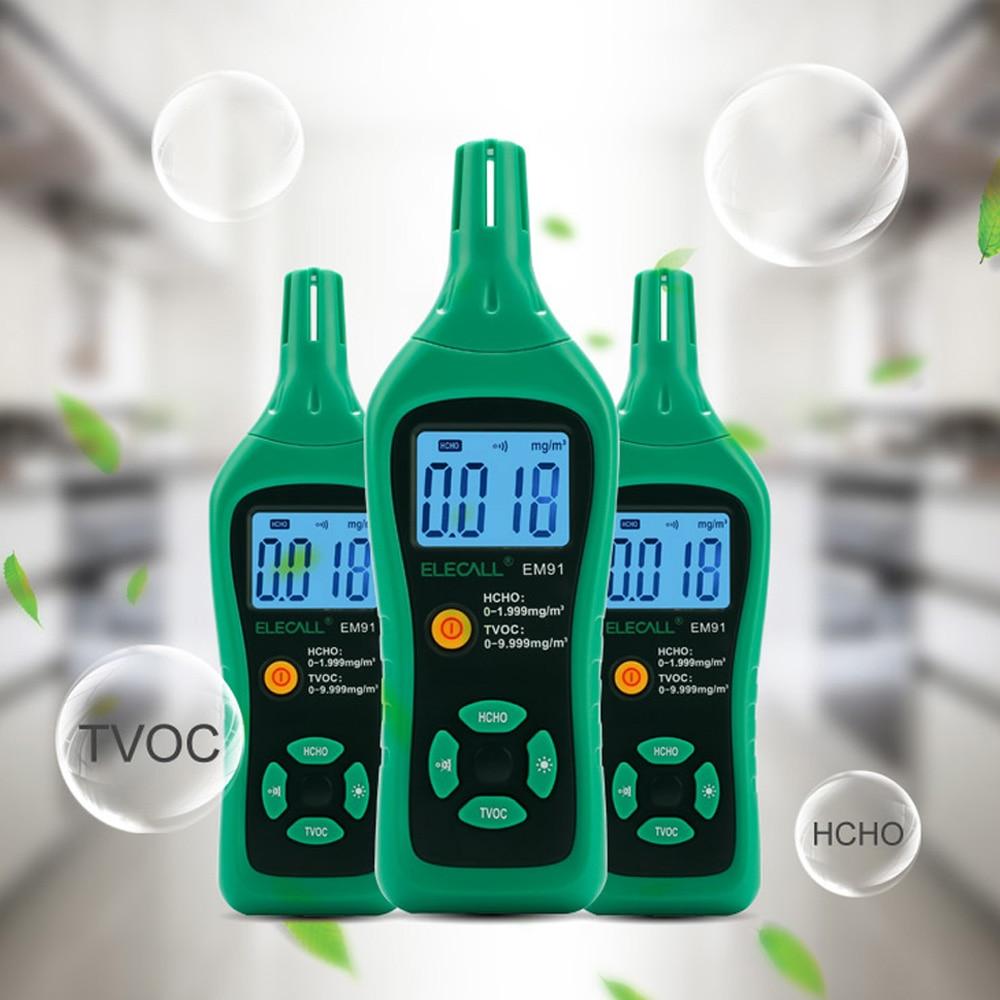ELECALL EM91 Digital Smart Formaldehyde Gas Detector Gas Meter Formaldehyde Tester Sensor HCHO TVOC Meter Air Analyzers Unit