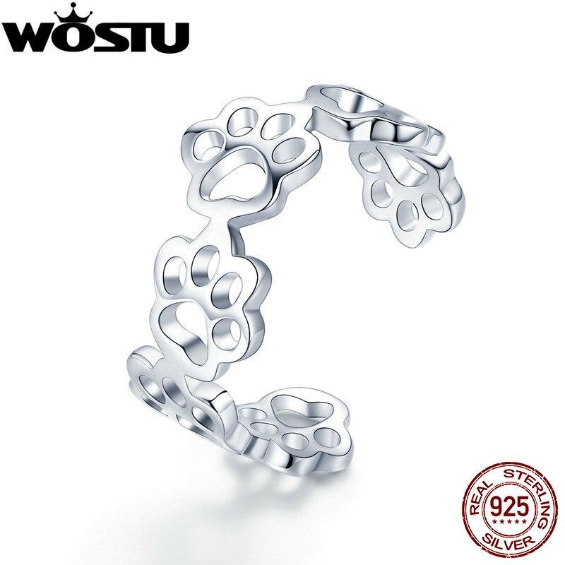 100% Wahr Wostu Echtem 925 Sterling Silber Tatzen Paw Print Pet Finger Ringe Für Frauen Mädchen Nette Ring Anillos Schmuck Geschenk Cqr424