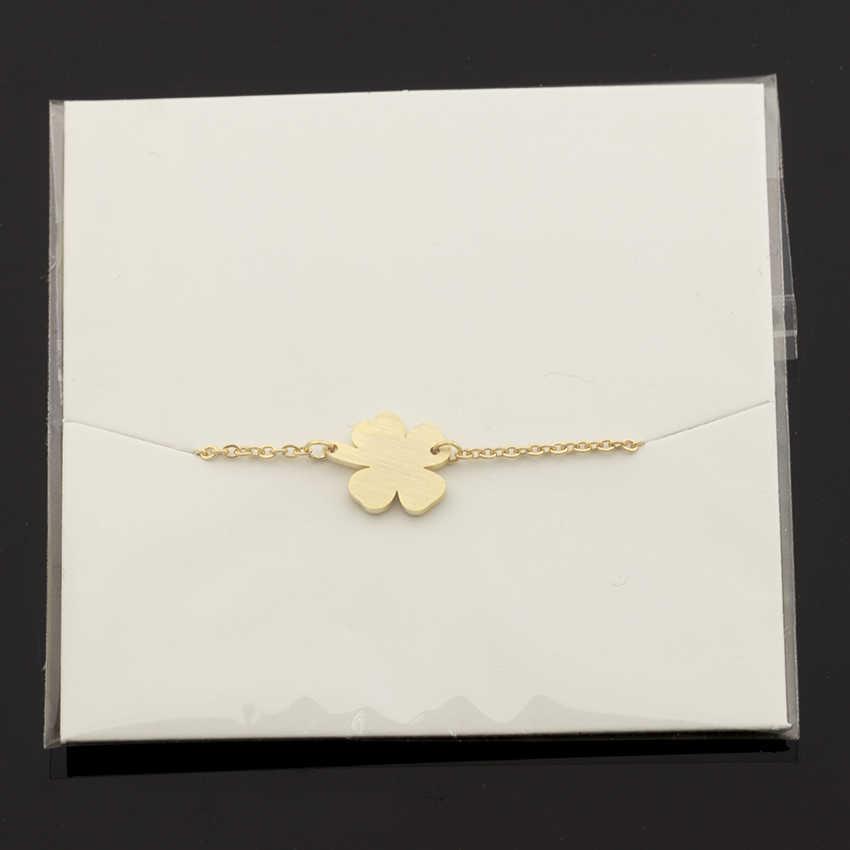 Bracelets de trèfle à quatre feuilles porte-bonheur pour femmes bijoux Bff en acier inoxydable idées cadeaux d'amitié chanceux Armbanden Voor Vrouwen