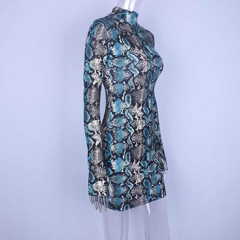 Hugcitar змеиный skin принтом принт длинное & короткое рукавом облегающее обтягивающее мини платье платья поатье 2019 осень осеннее зимнее зима женское женские женщин сексуальные high neck клубное одежда