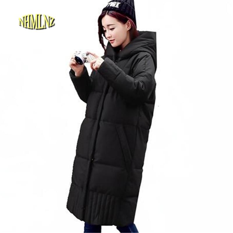 2017 Winter Women Jacket New Fashion High Quality Slim Warm Hooded Comfortable Medium long Pure color Womens Jacket M-XL OK103 eral 2015 new fashion high quality women s soft hooded slim medium long down jacket afa6016