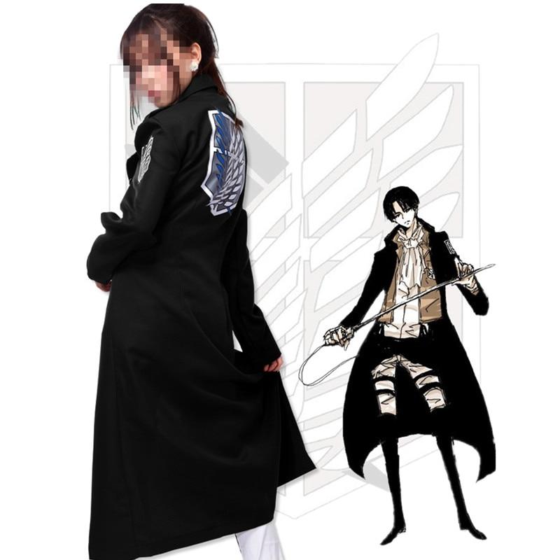 2018 shingeki não Kyojin Levi Rivaille Casaco Manto Adulto Halloween cosplay  Attack on Titan Blusão Preto 80fa81d09cab