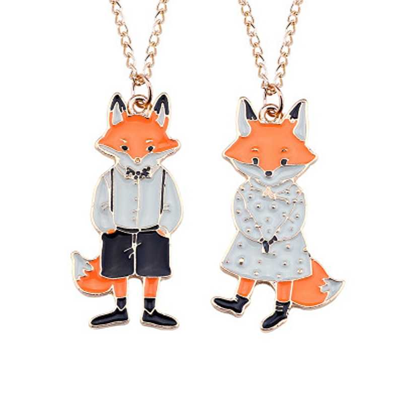 Lovely Cartoon Fox Couple Necklace Pendants Metal Animal Necklaces For Men Women Lovers Jewelry