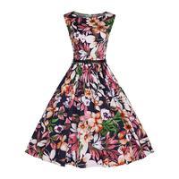 Audrey Hepburn 50s 60s Retro Elegant Dress Women Summer Vintage Black Bandage Dresses Flowers Print Plus Size XXXXL Rockabilly