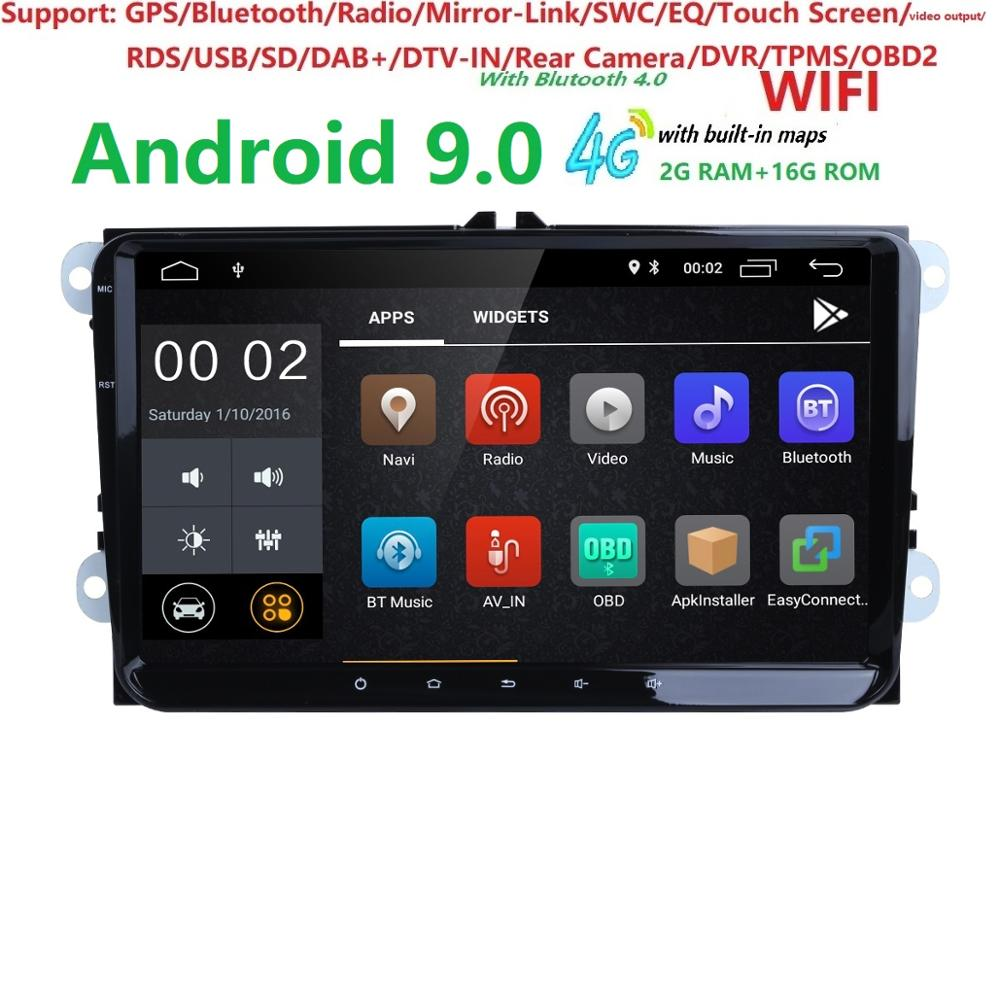 DSP IPSAndroid 9,0 9 2din автомобильный gps для VW POLO GOLF 5 6 POLO PASSAT B6 CC JETTA TIGUAN TOURAN EOS SHARAN SCIROCCO CADDY головное устройство